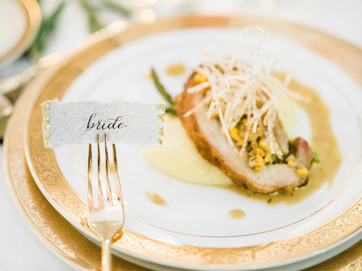 Wedding food plate with Bride tag