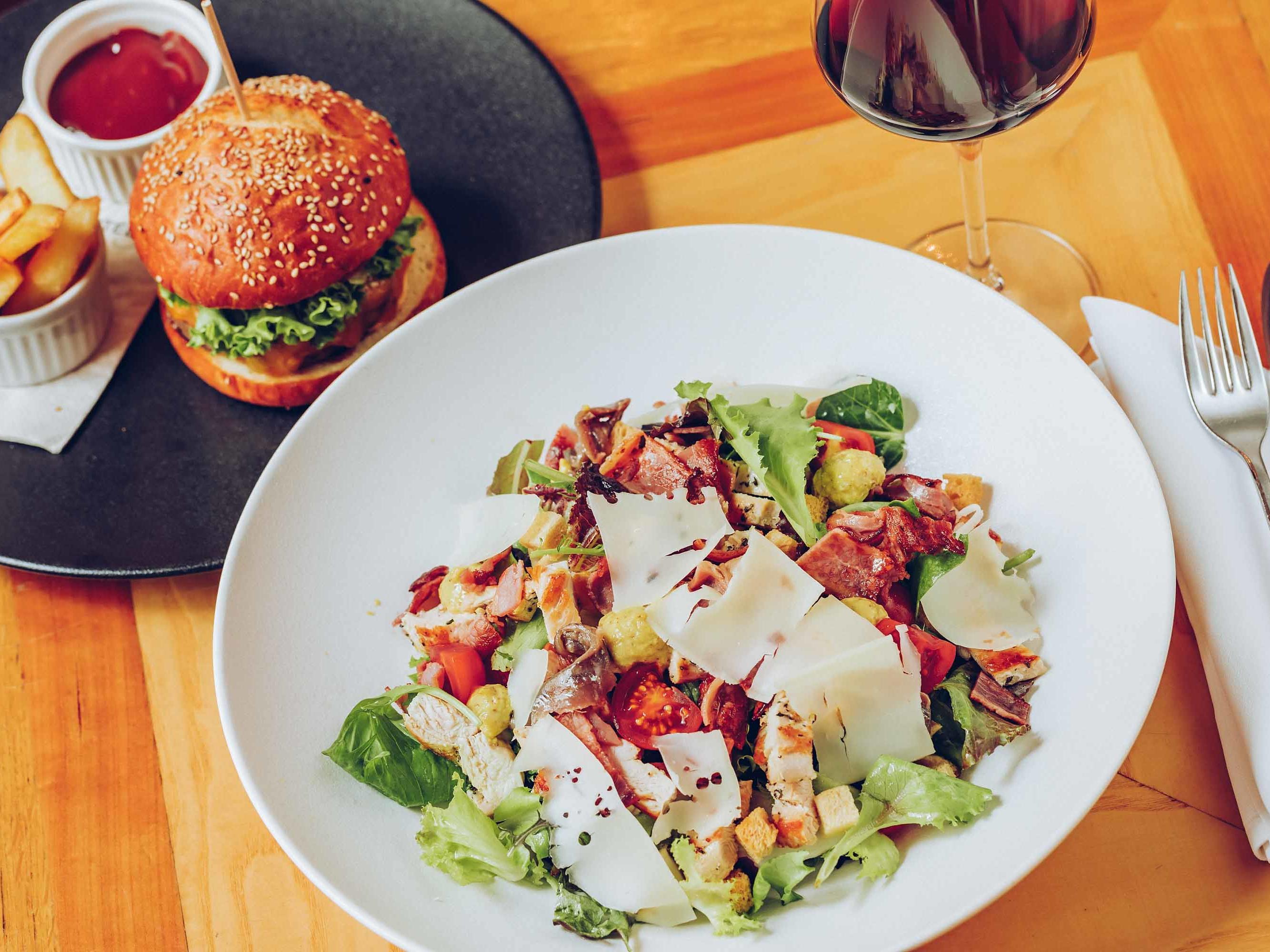 Salad and Hamburger