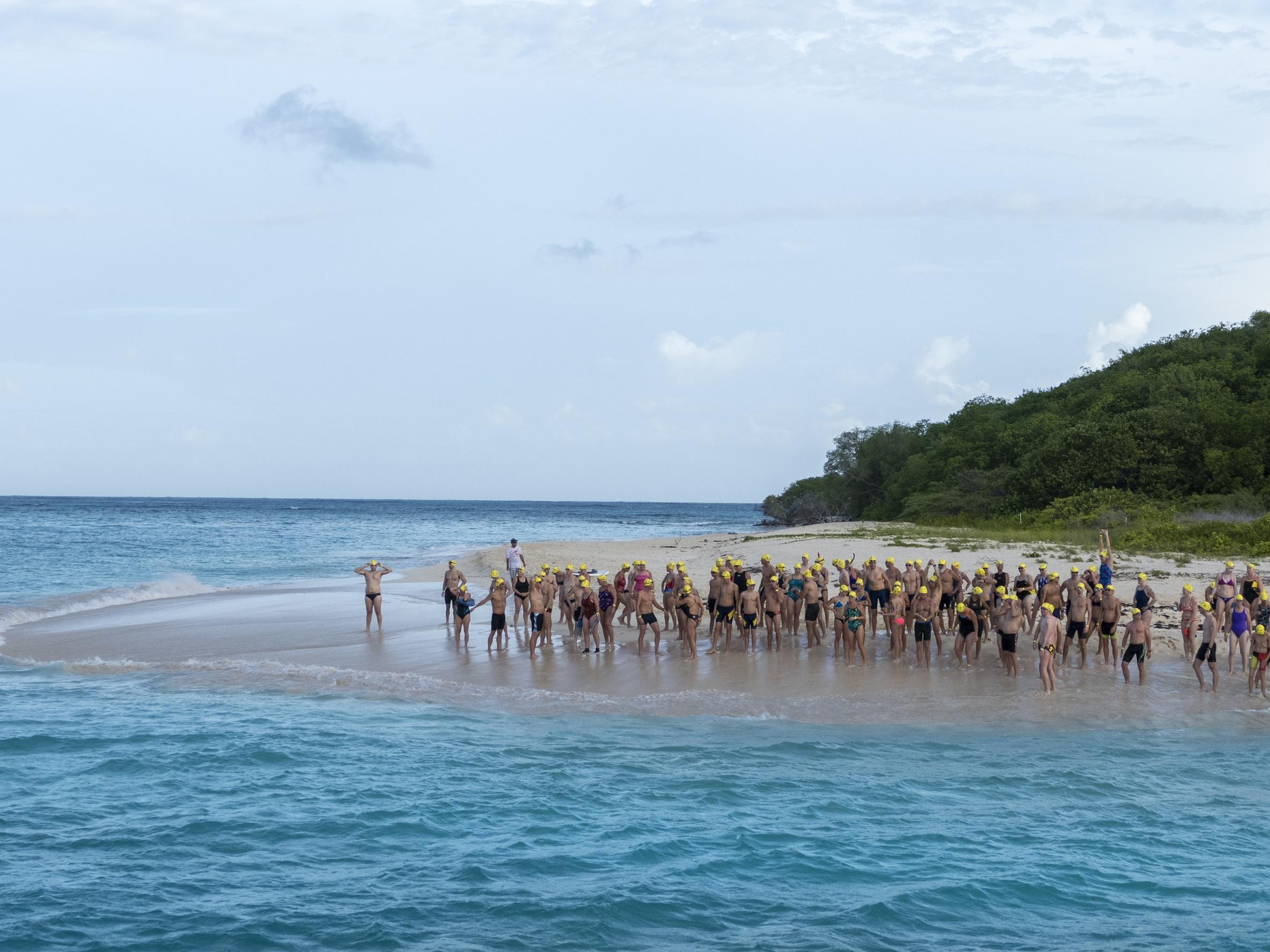 Coral Reef Swim Race Participants on Beach