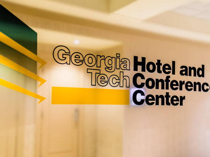 georgia tech hotel and conference center logo on glass