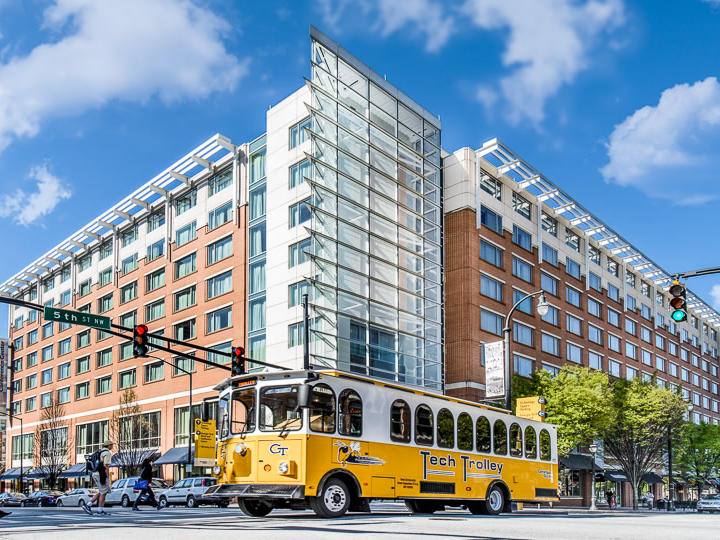 street view of georgia tech hotel and conference center with trolley