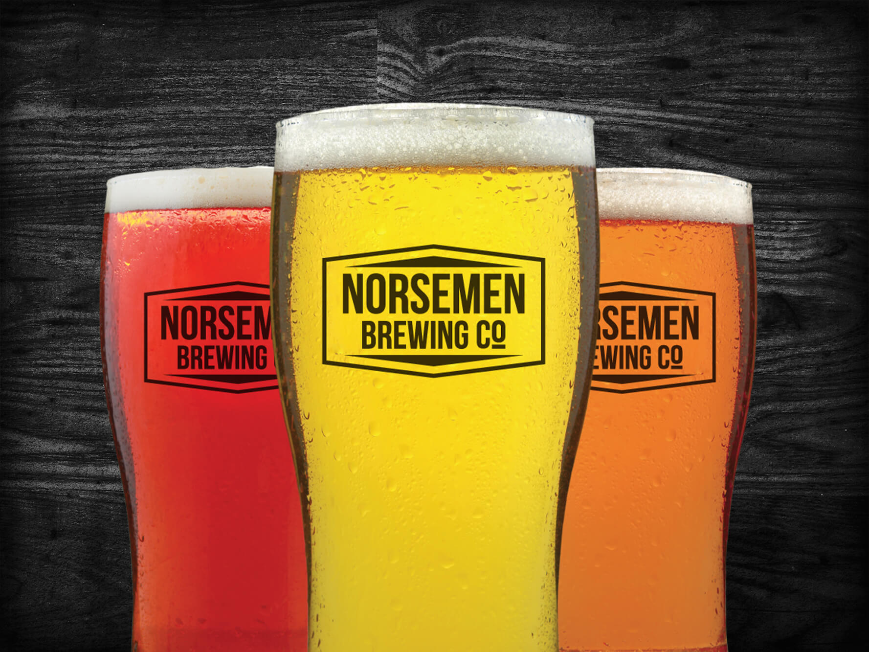 norsemen brewing co logo on three beer mugs