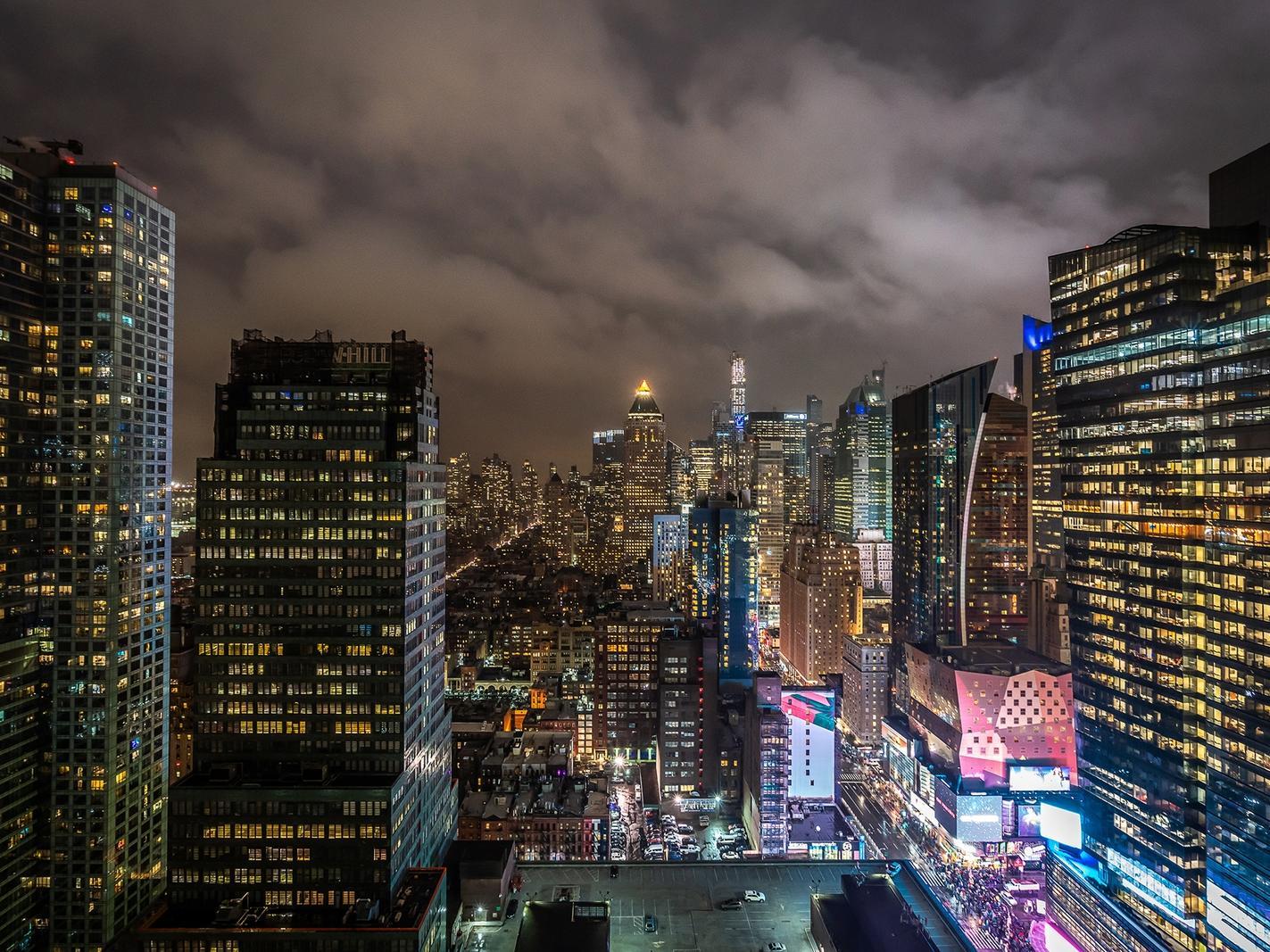 Manhattan skyline at night.