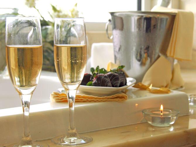 Two glasses of champagne at Hotel Presidente Luanda in Luanda