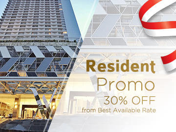 Poster stating that residents get 30% off best available rate
