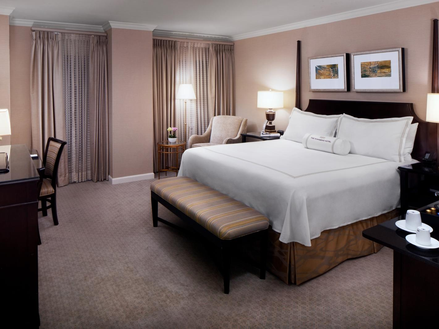 Cozy bed in hotel room