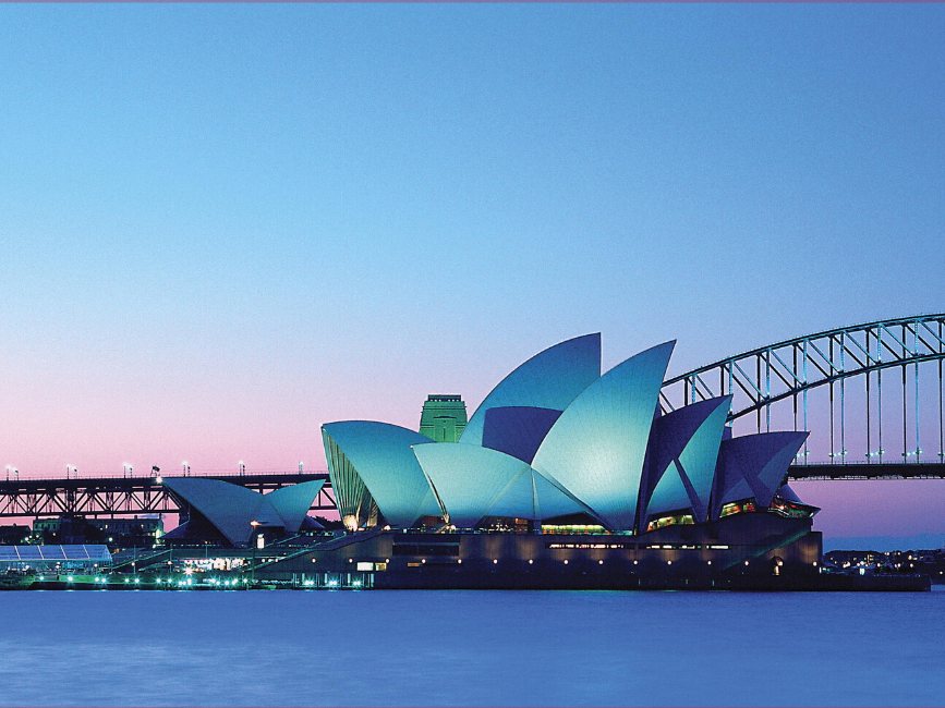 Sunset view of Sydney Opera House