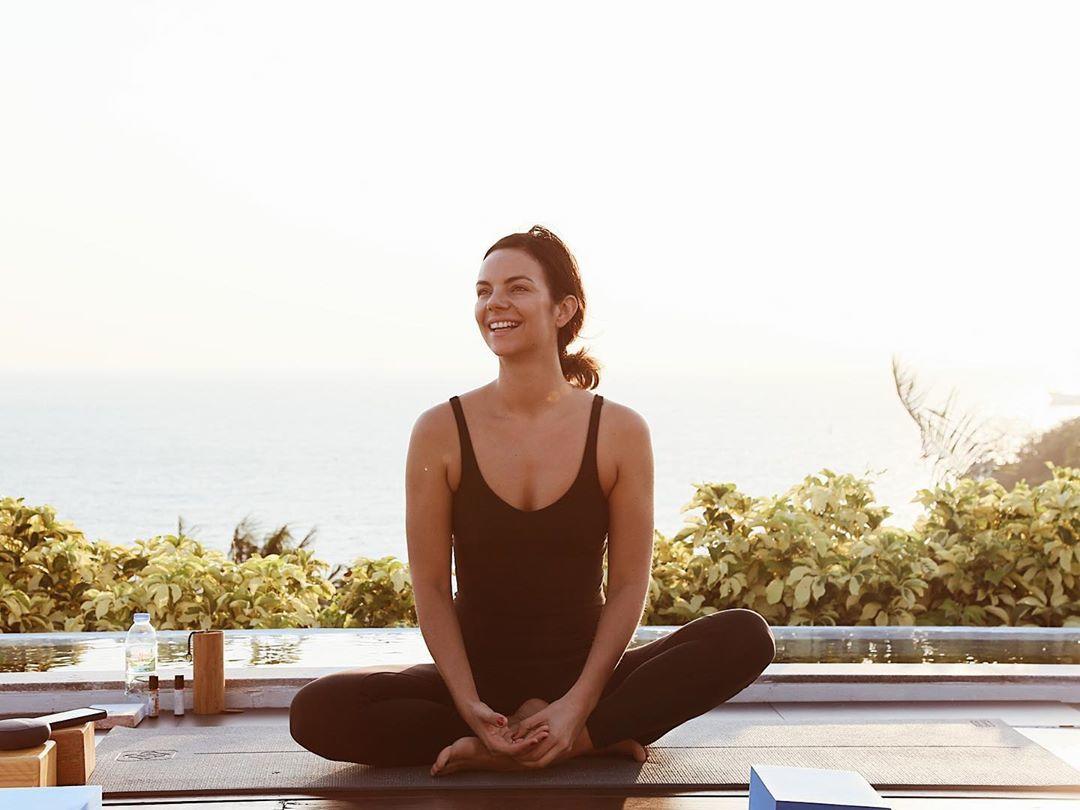yoga instructor demonstrating