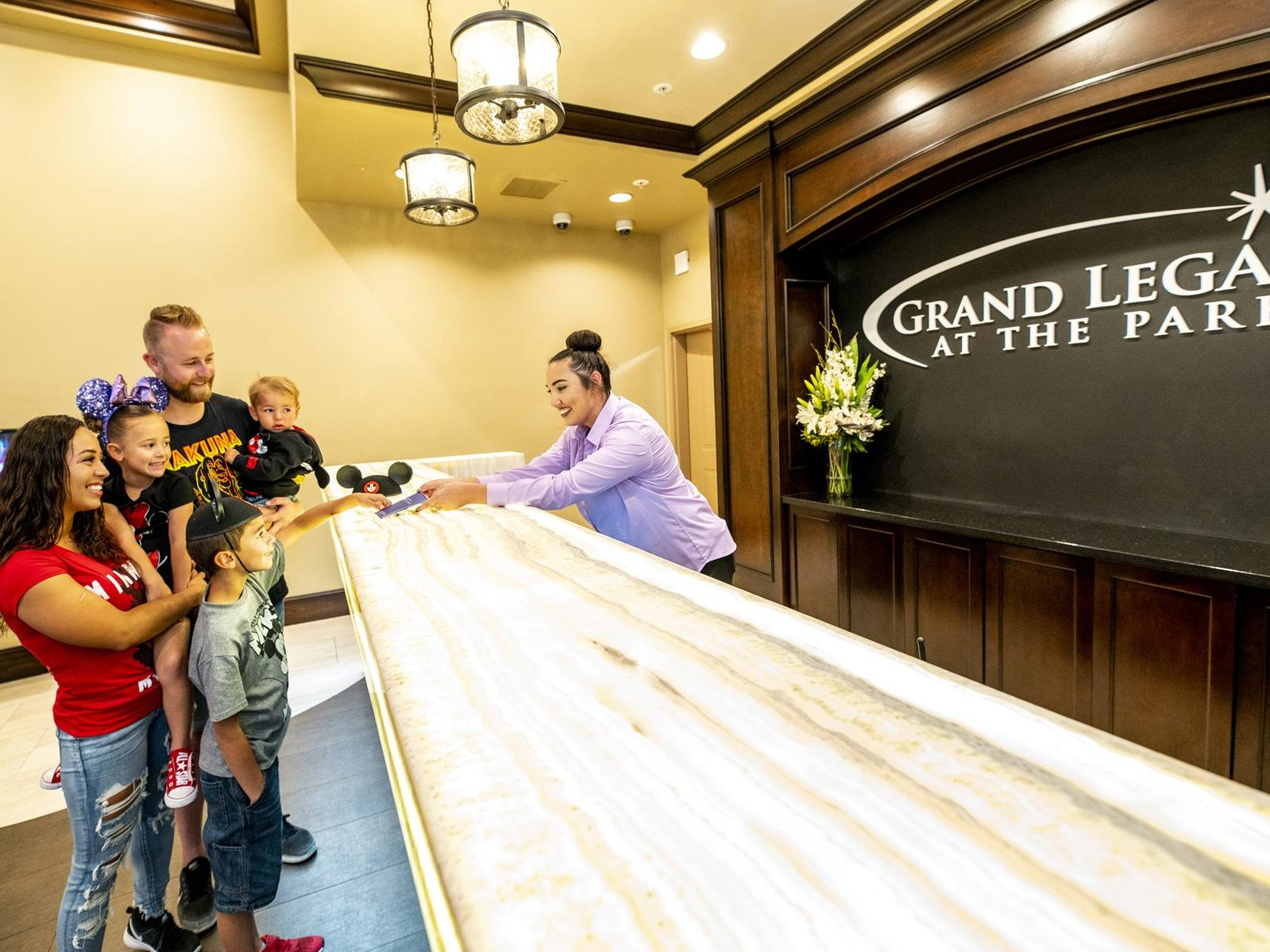 The front desk at Grand Legacy at The Park Anaheim.