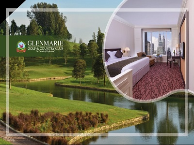 Images of golf course and hotel room