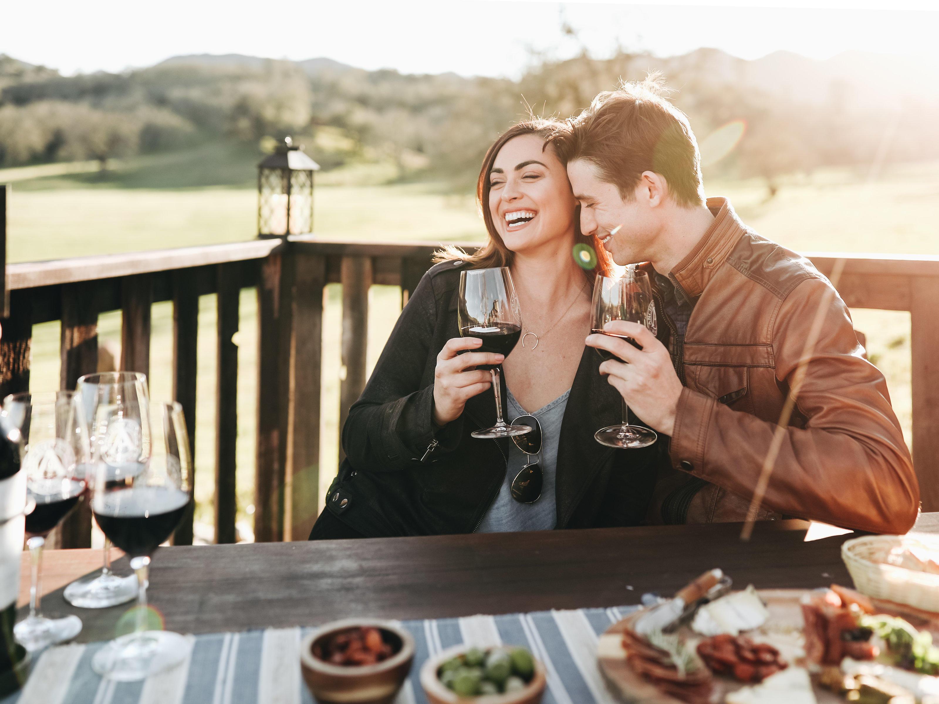 Wine tasting on outside deck
