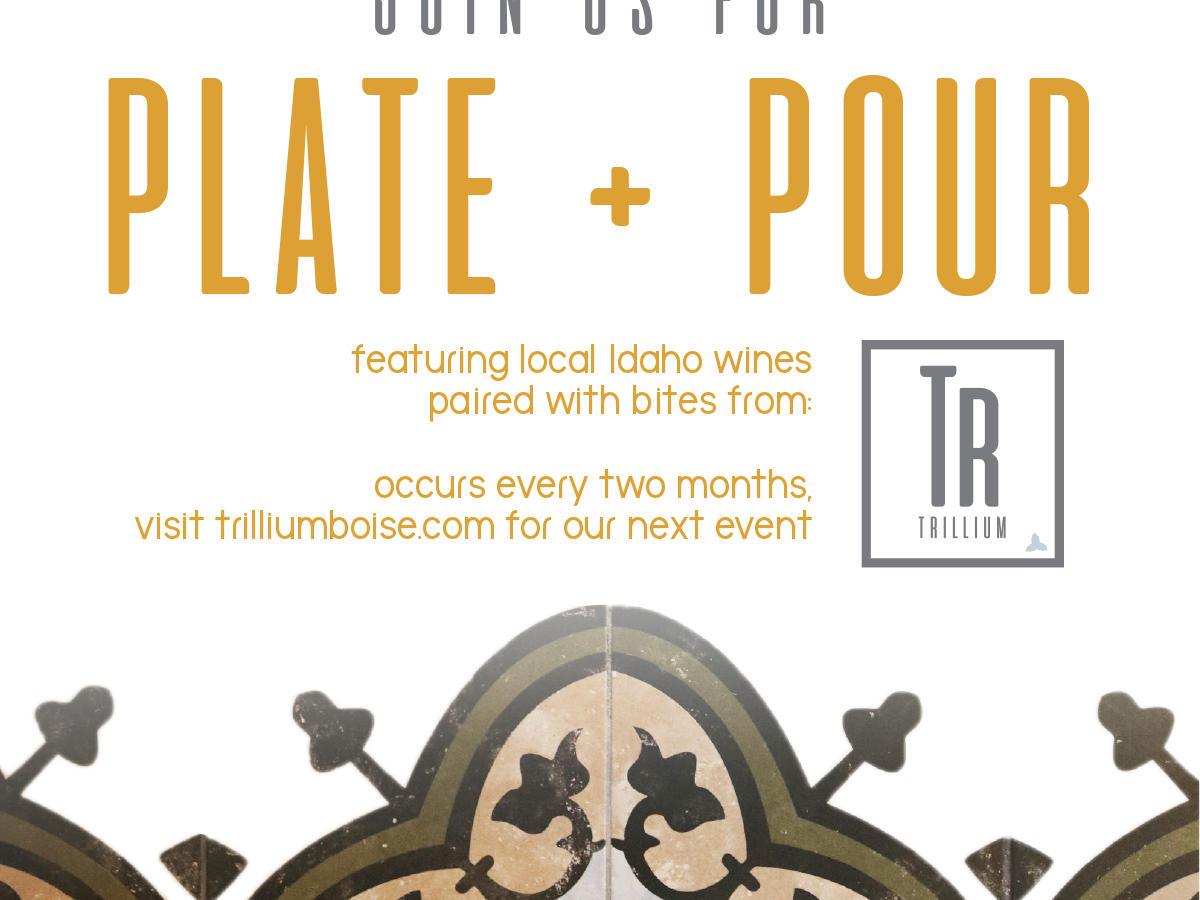 plate pour with trillium and idaho wines