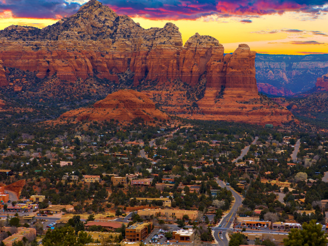 Aerial view of Sedona, a beautiful landscape