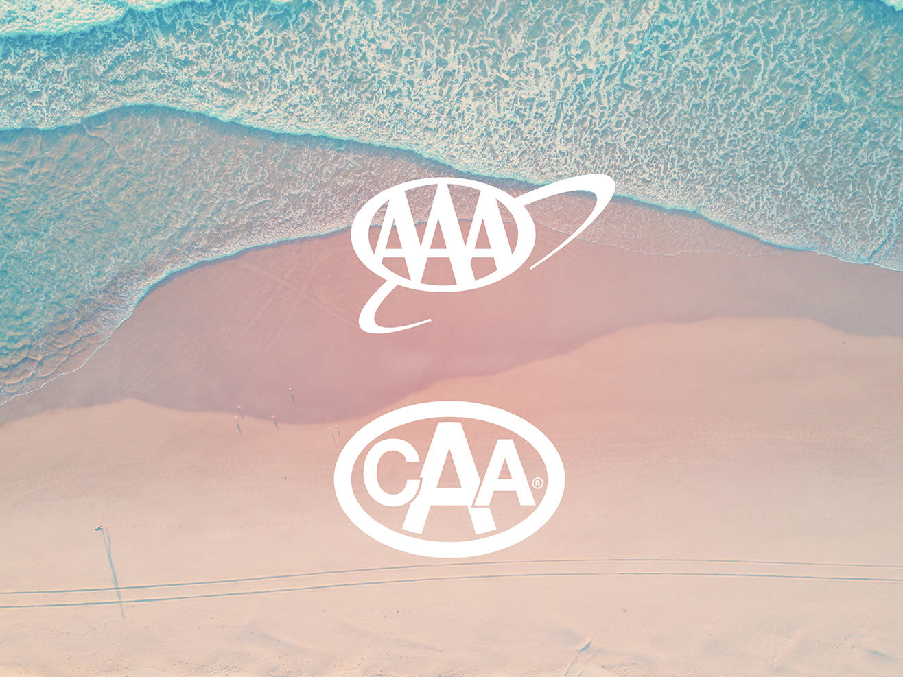 aarp logo and caa logo overlayed on beach background image