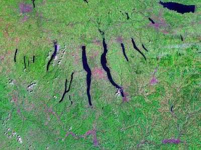 Satellite view of finger lakes
