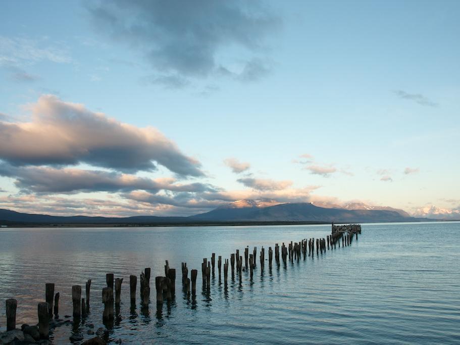Wooden barrier on the sea, evening view near NOI Indigo
