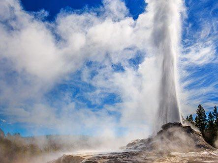 Water spewing up from a geyser