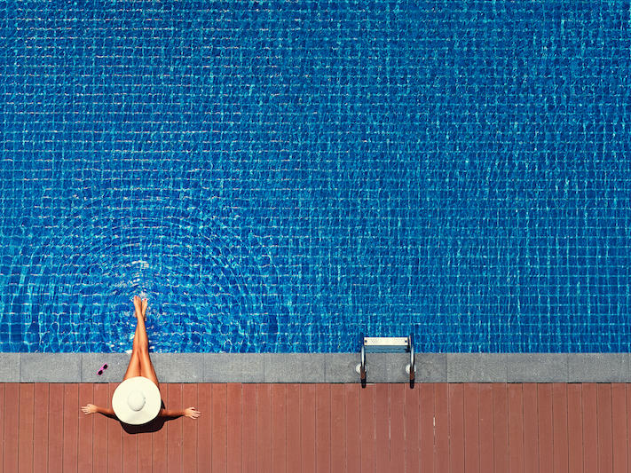 lady at the pool