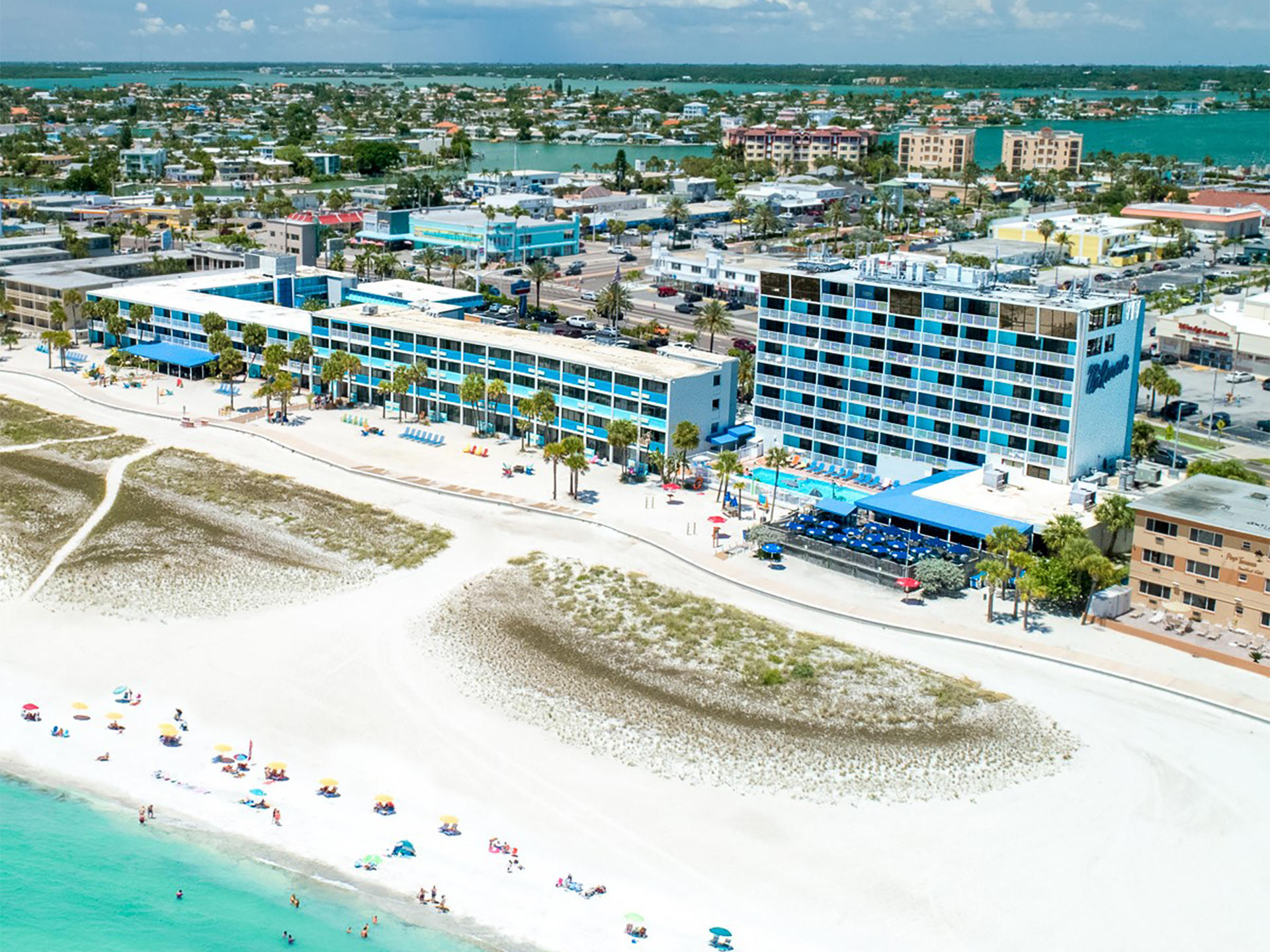 aerial view of a beachfront hotel