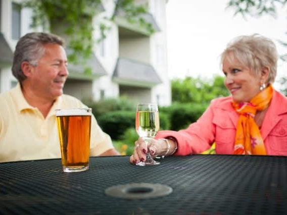 couple having drinks at table
