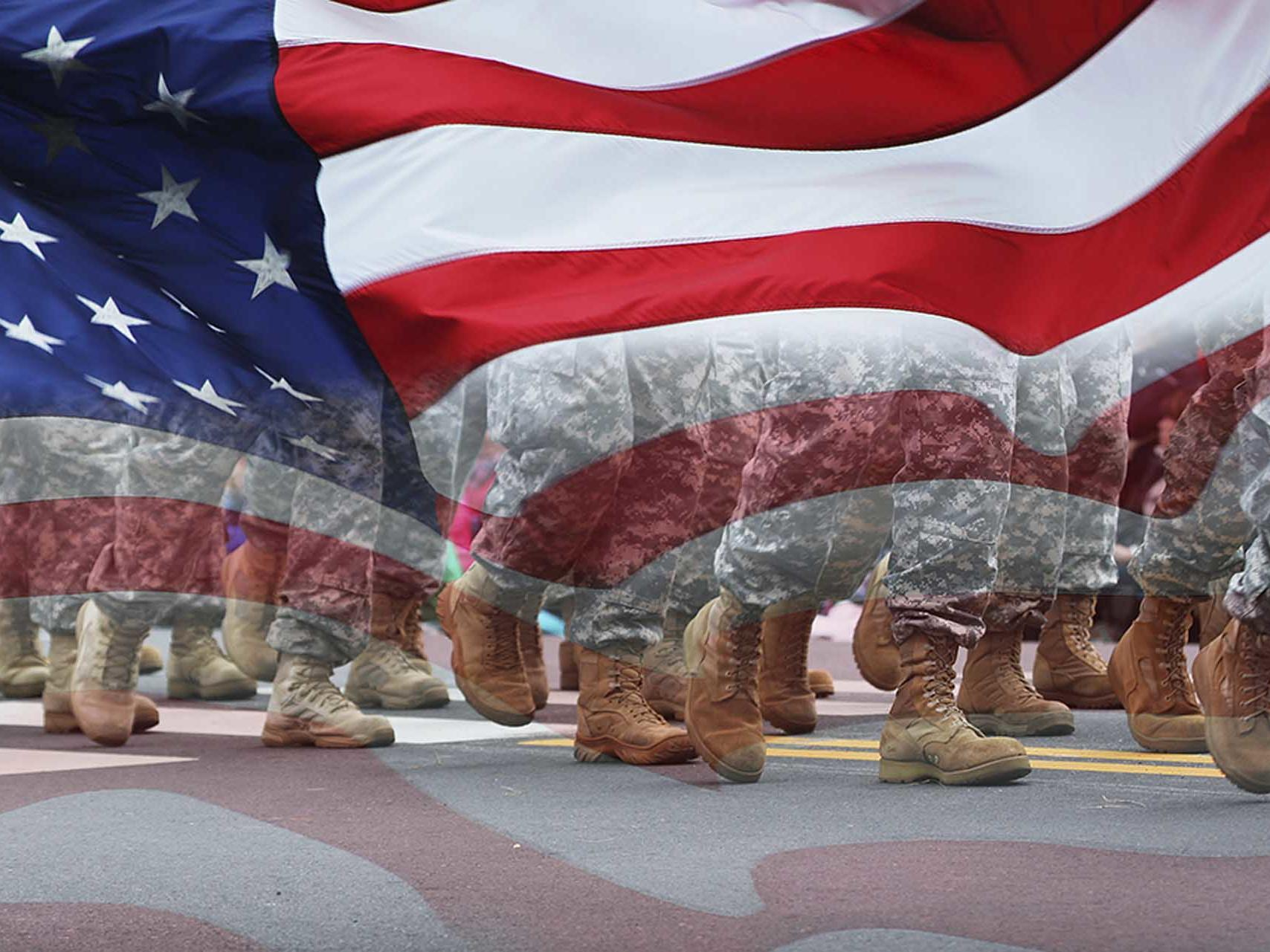 american flag overlayed army men boots