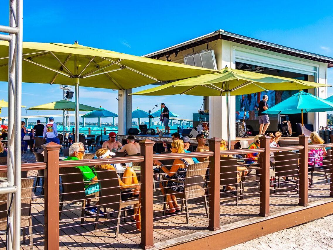 Exterior view of Tiki beach bar at Shephard's Beach Resort