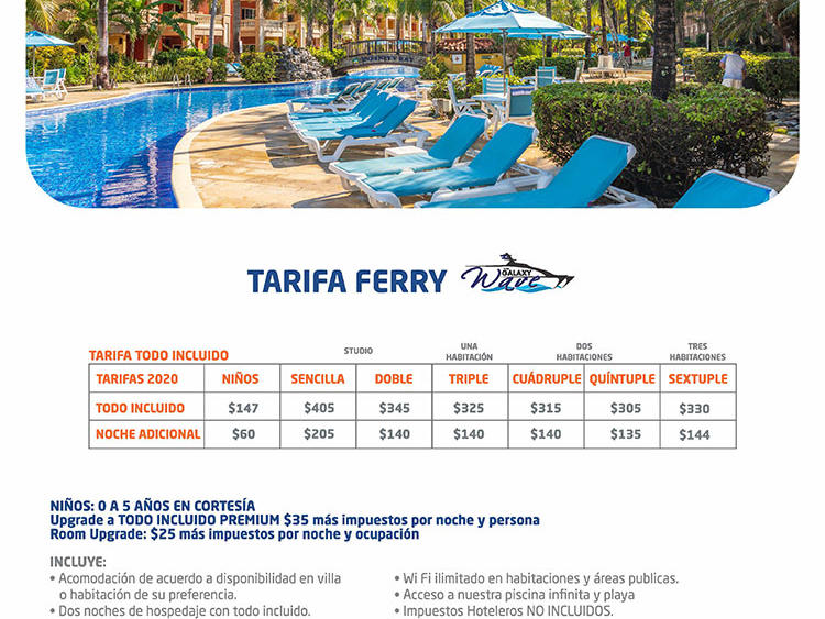 flyer with tarifa ferry (ferry pricing)