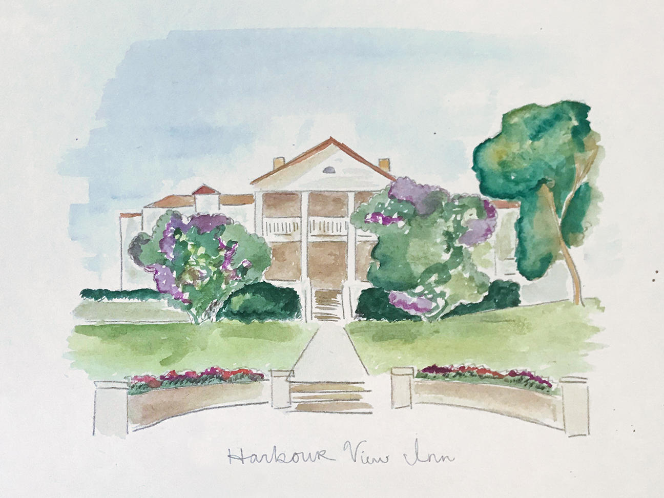 Water color of the Harbour View Inn