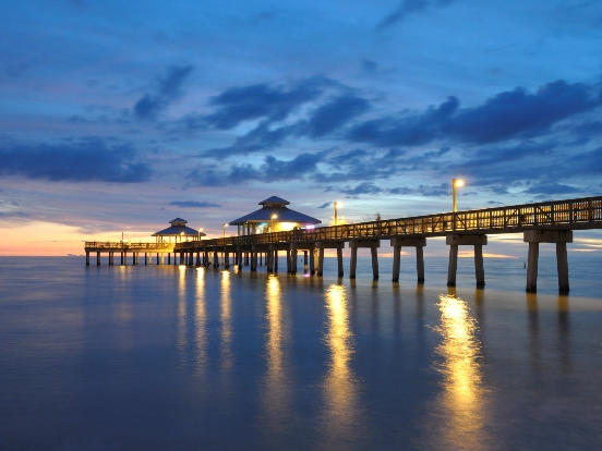 the pier at dusk