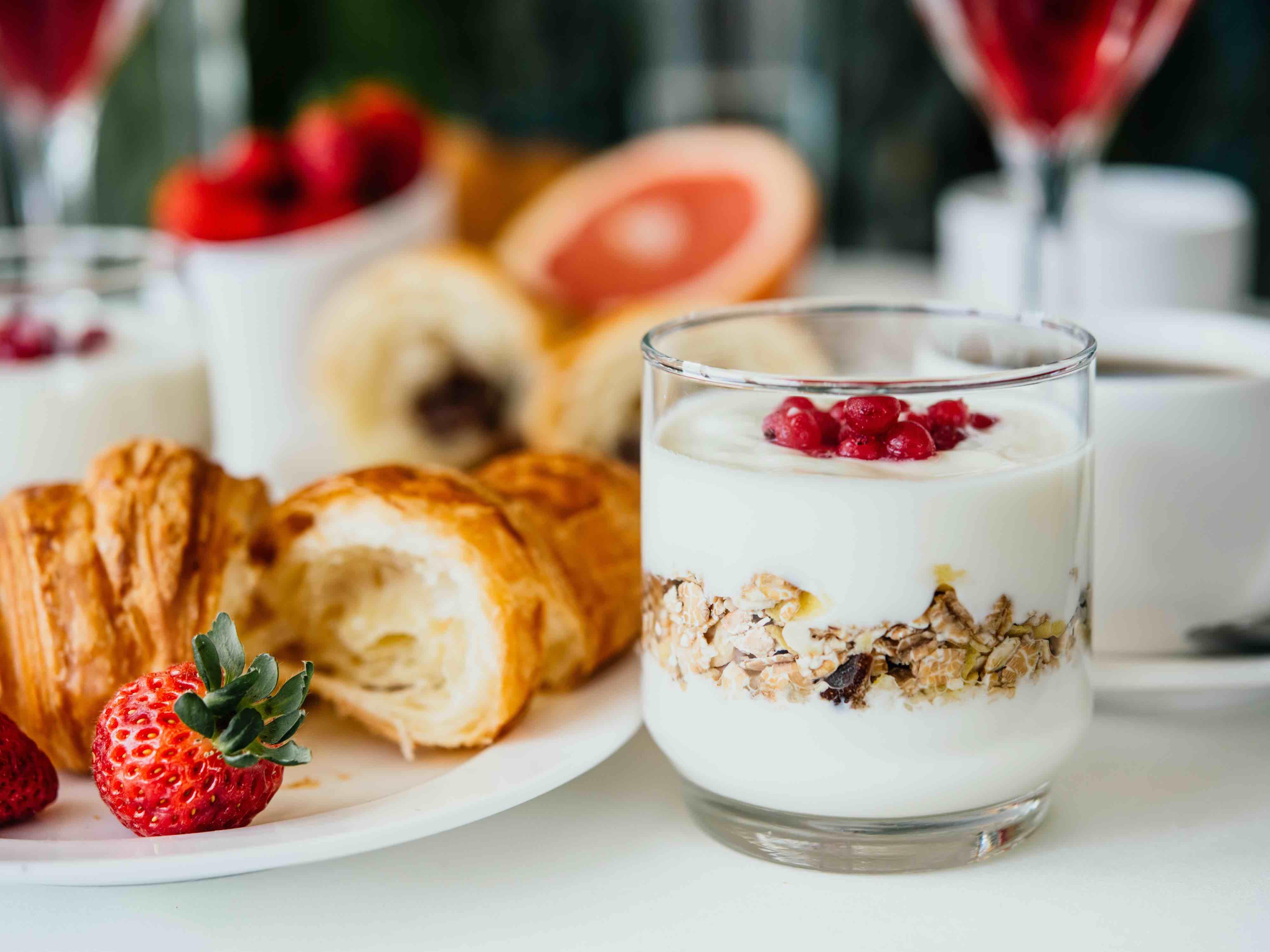parfait and croissants