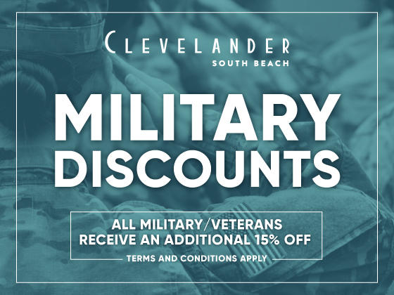 Poster of Military discounts at Clevelander South Beach