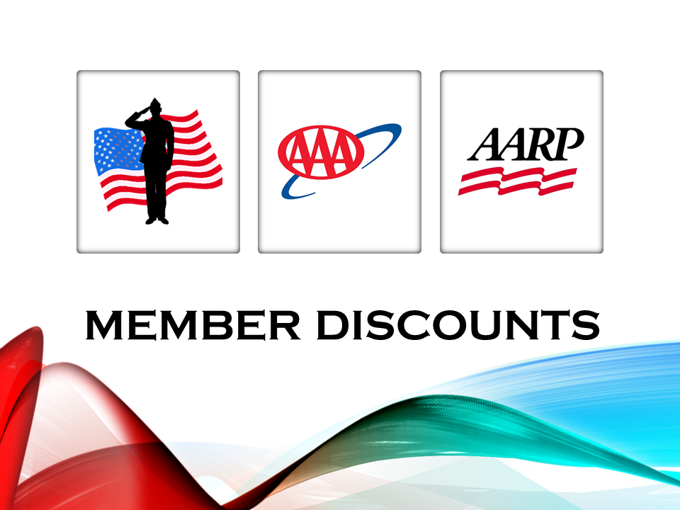 Member discounts for veterans, AAA and AARP members