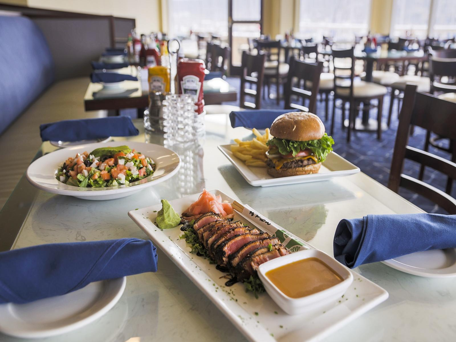 Delicious dishes in the Restaurant at Bay Club Hotel