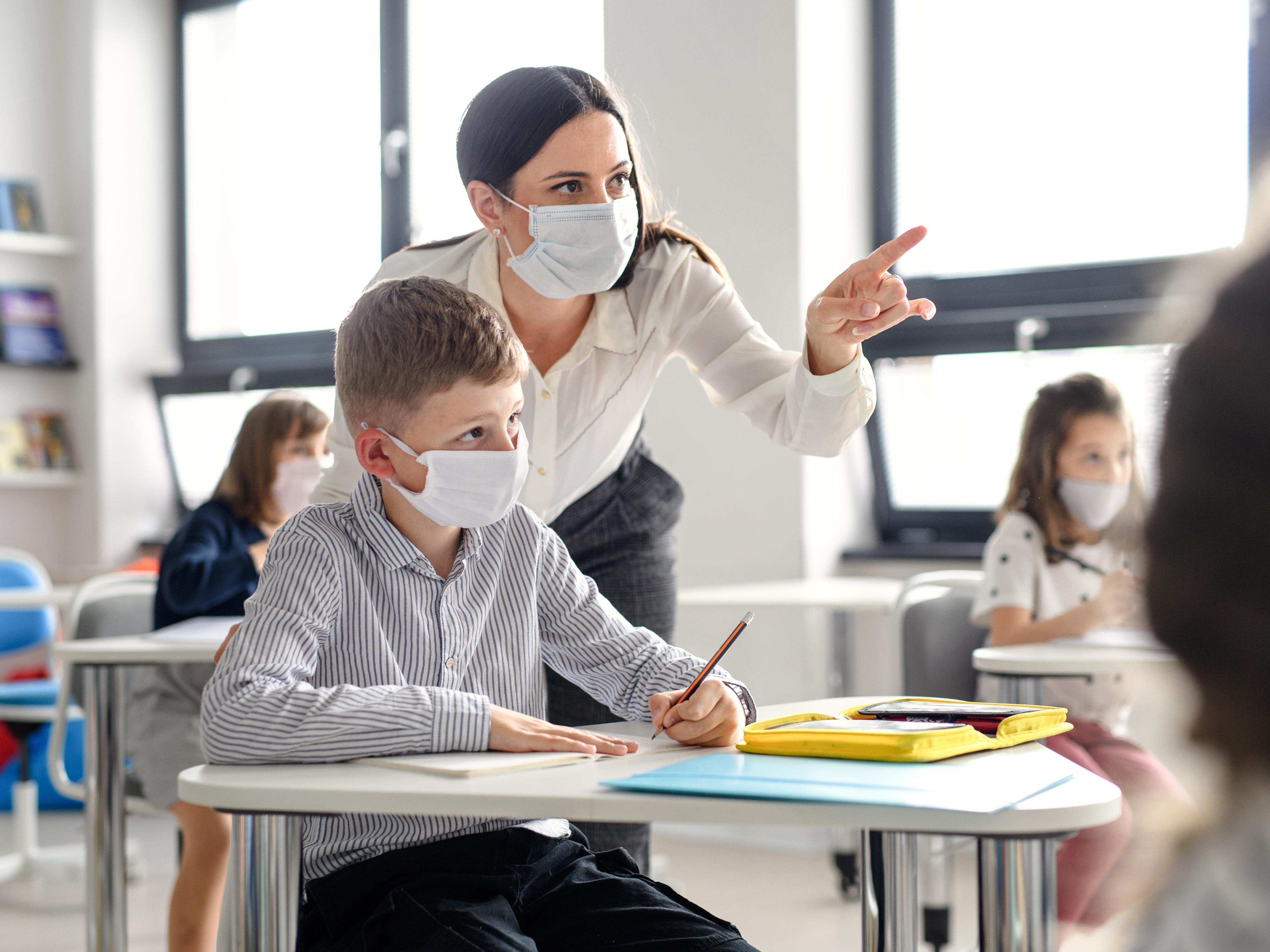 Teacher and Student with Face Mask