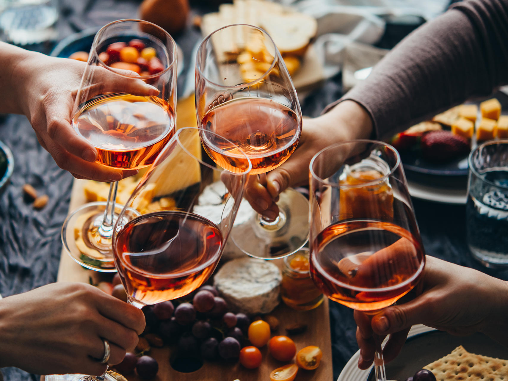 Glasses of rose wine seen during  party at The Time New York