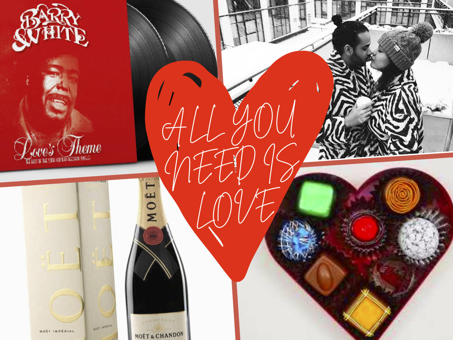 Collage of Valentine's Day images like candy & champagne