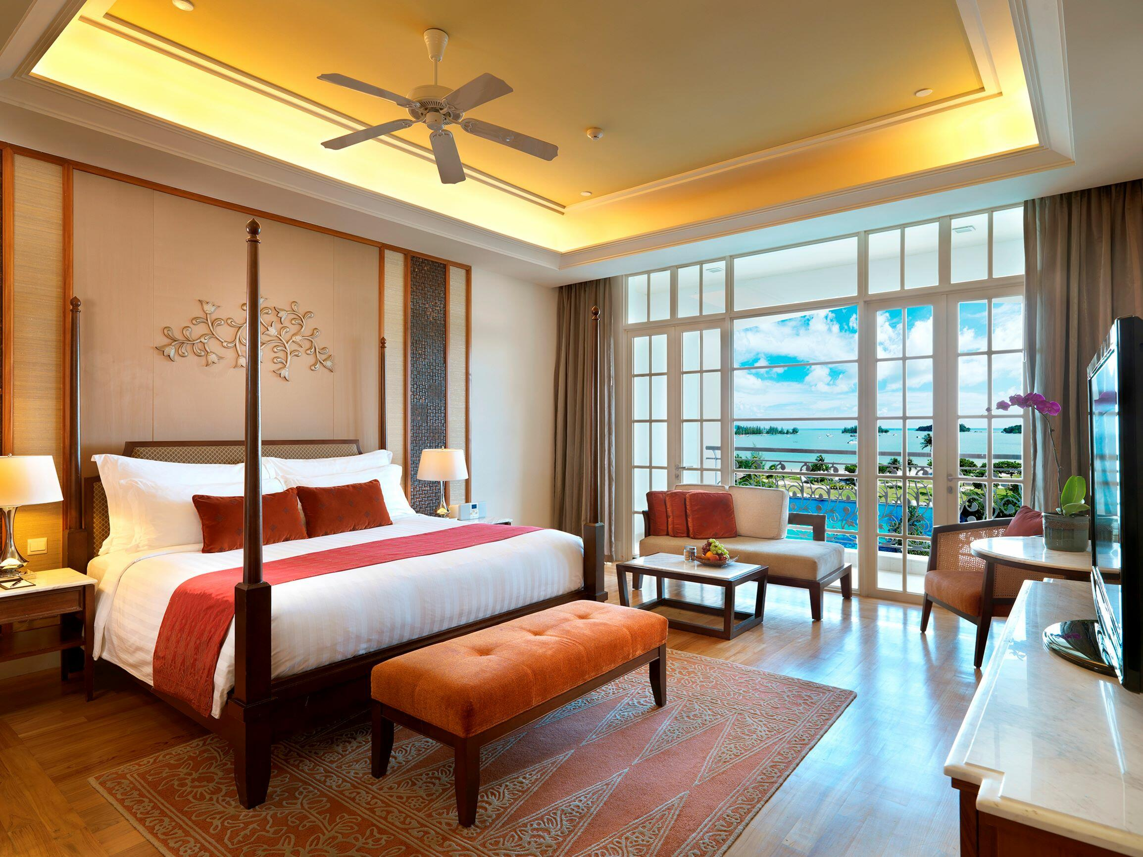 Room with pool and beach view