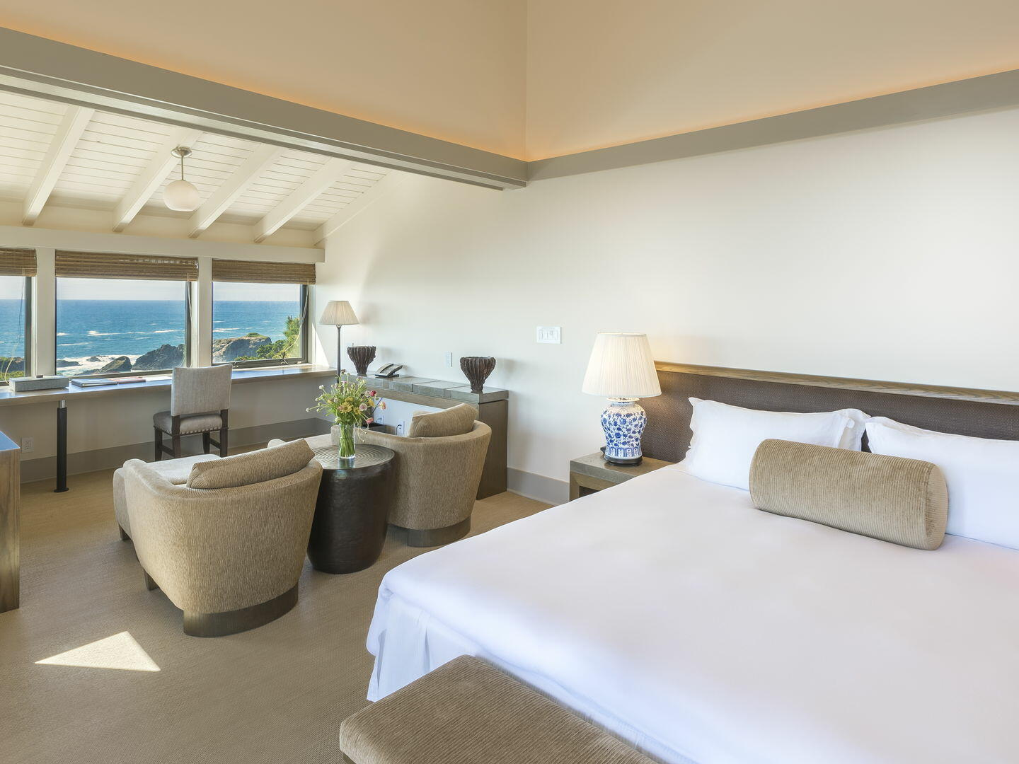 Bedroom of Heritage Suite with kingbed at Heritage House Resort