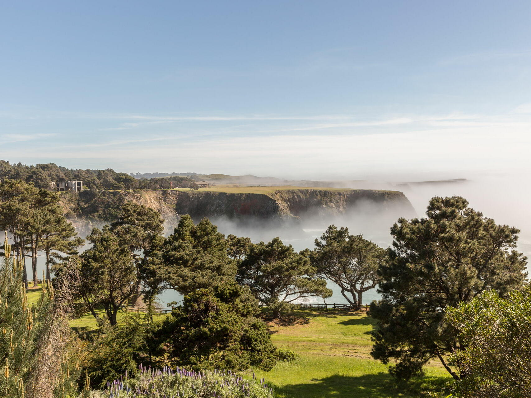 The coastline covered in mist at The Heritage House Resort