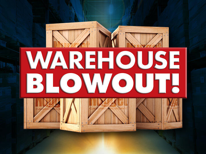 Warehouse Blowout Logo and Warehouse Crates