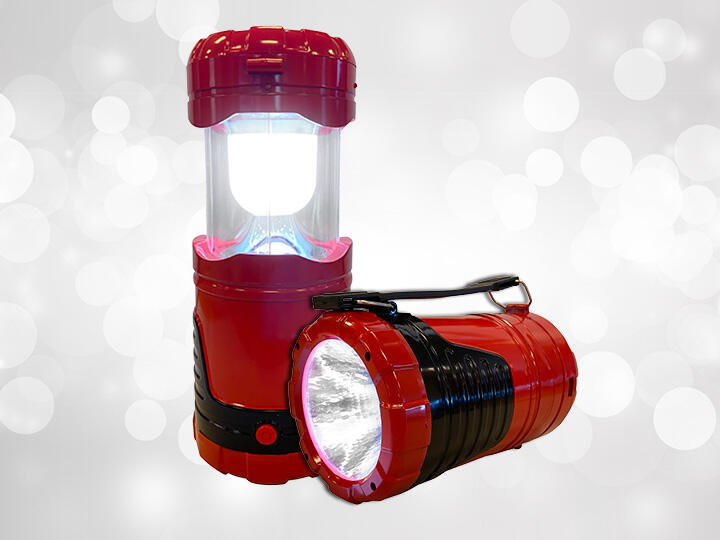Red Solar Powered Flashlight with Lantern Mode