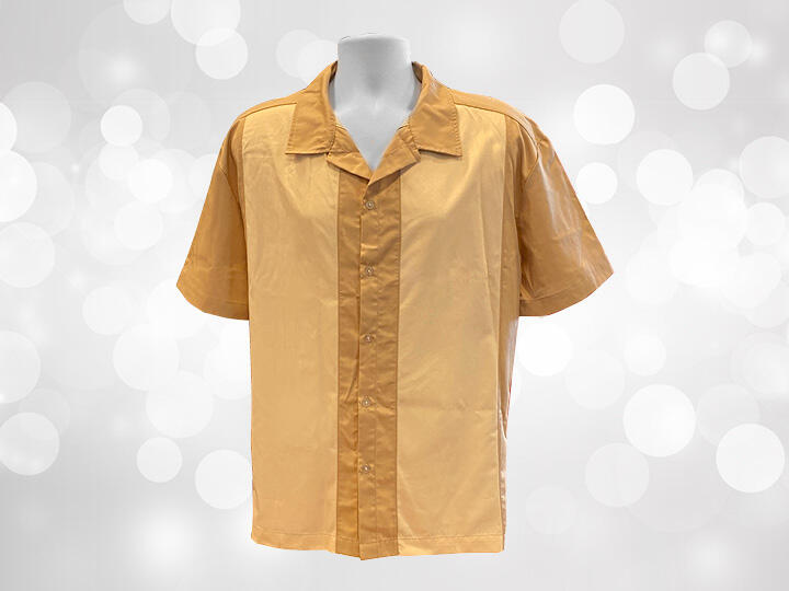Beige Colored Button Up Camp Shirt