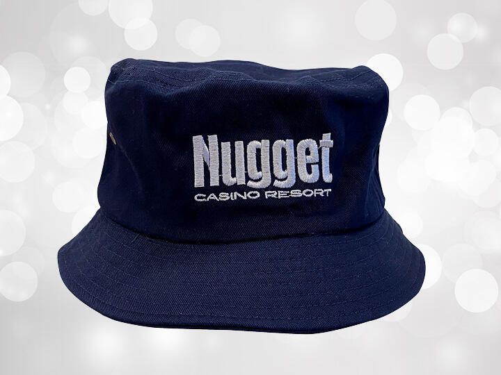Navy Blue Bucket Hat with Silver Nugget Logo