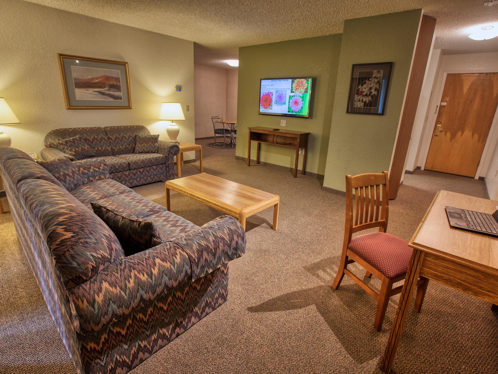 side view of spacious suite at Wedgewood Resort
