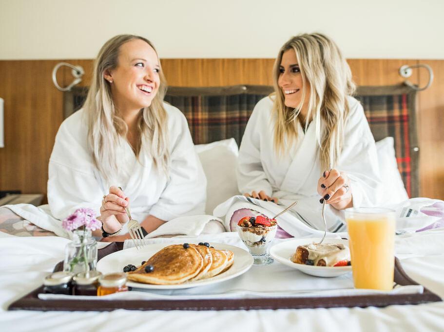 ladies, breakfast in bed, pancakes, juice