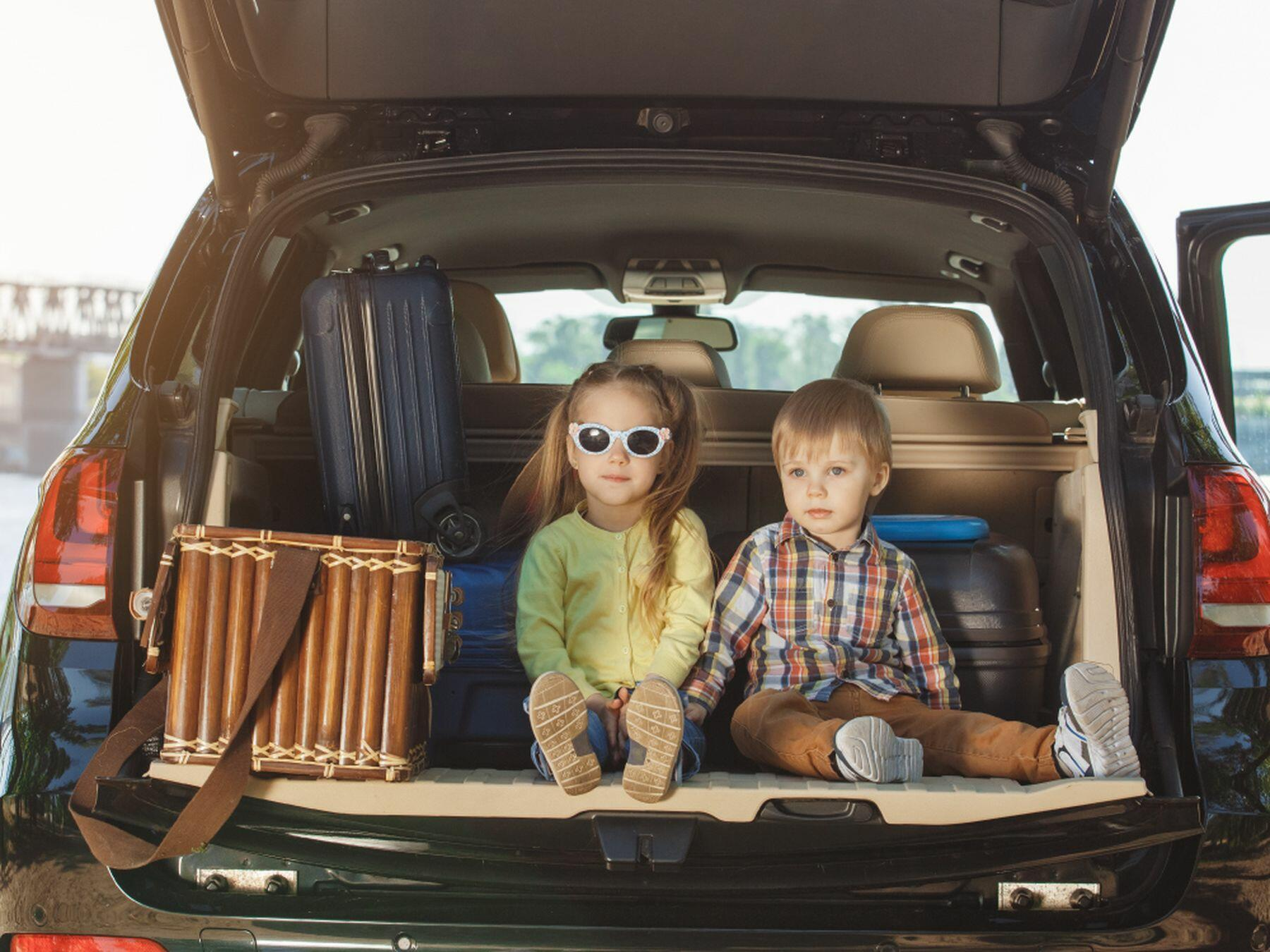 Two children at the back of a van with luggage