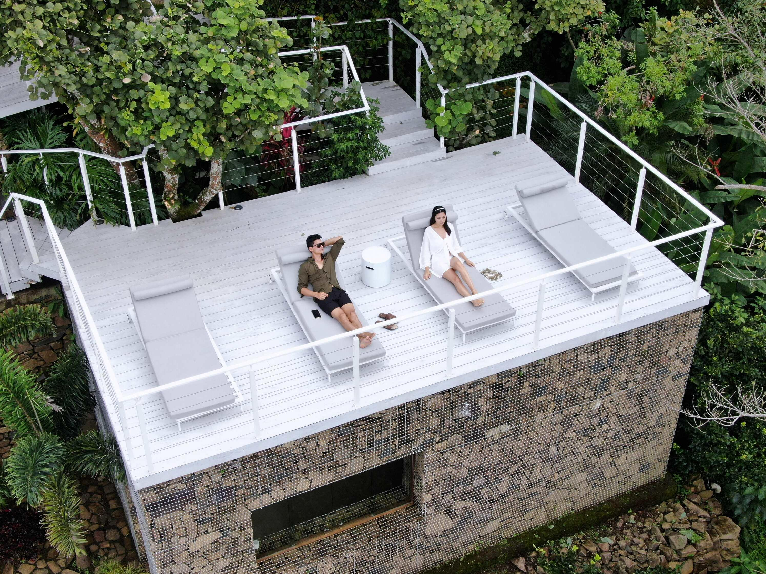 couple lounging on terrace