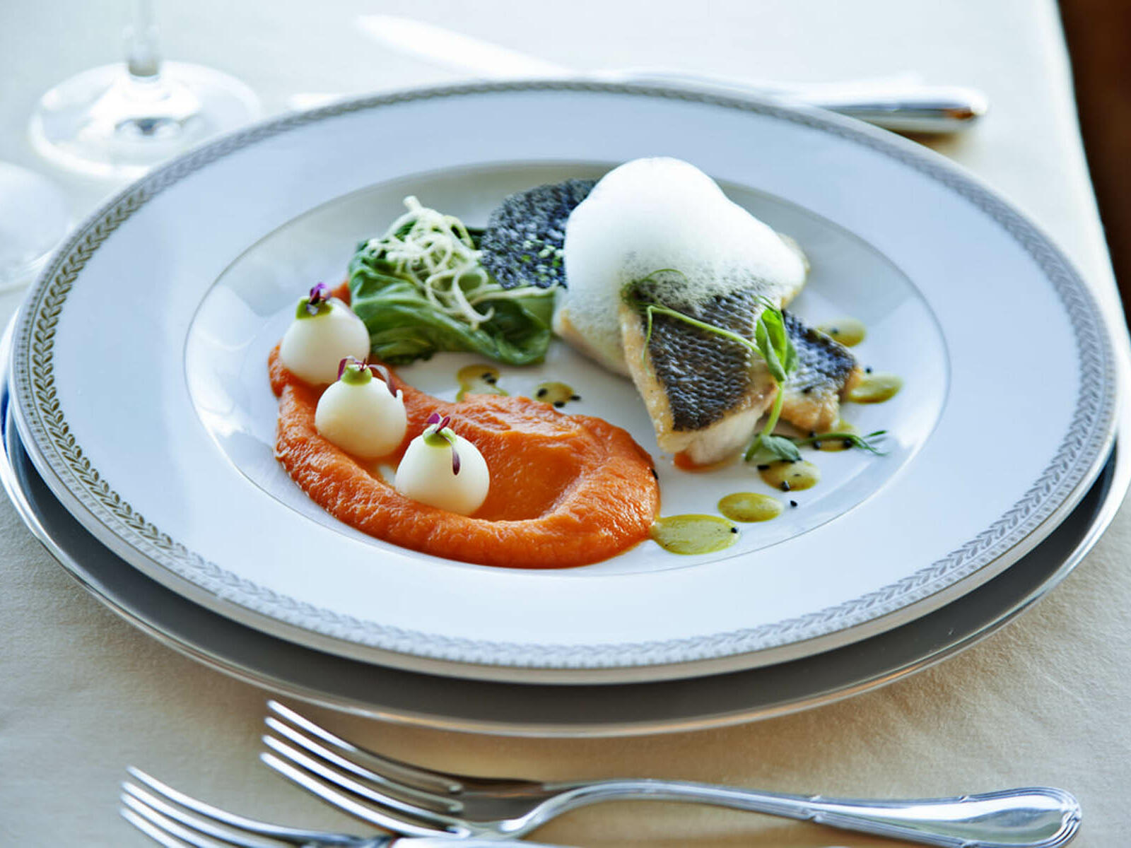 A fine dining plate at Hotel Cascais Miragem