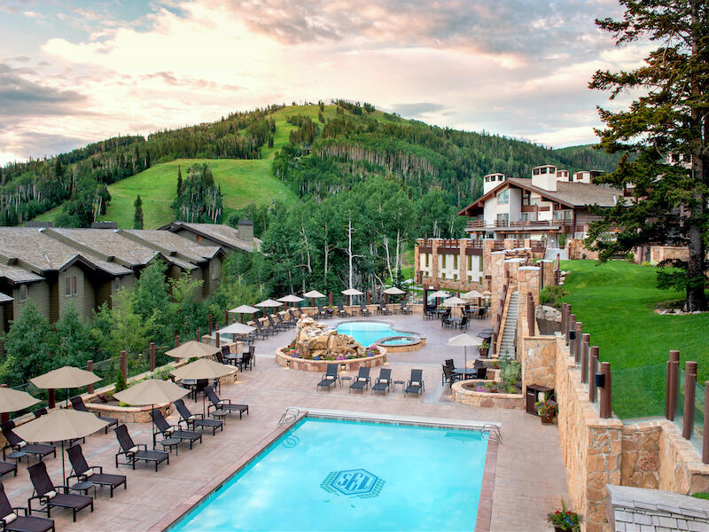 Stein Eriksen Lodge Summer Pool and Mountain Views