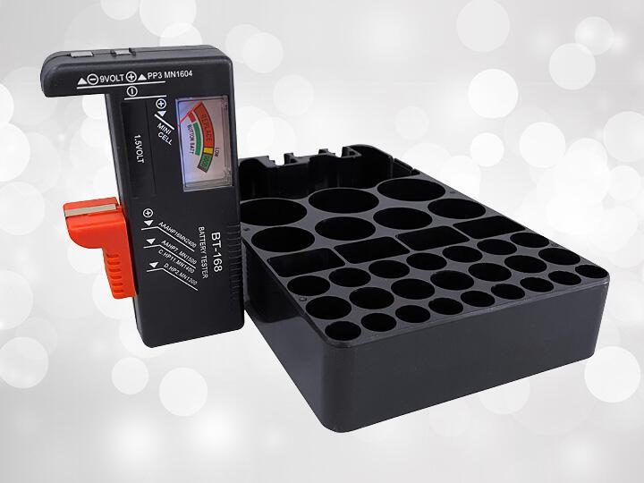 Black Battery Tester and Battery Holder